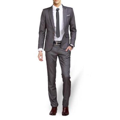 Ensemble costume slim pour bureau ou soirée – gris