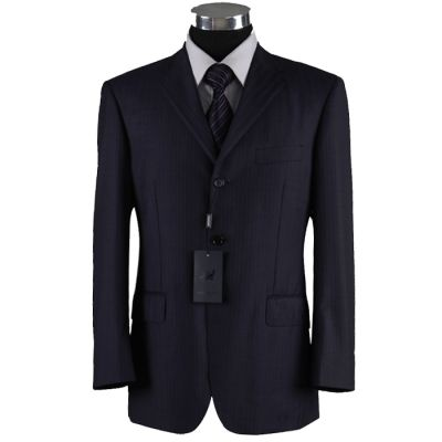 Ensemble costume bureau rayé avec veste et pantalon – bleu marine