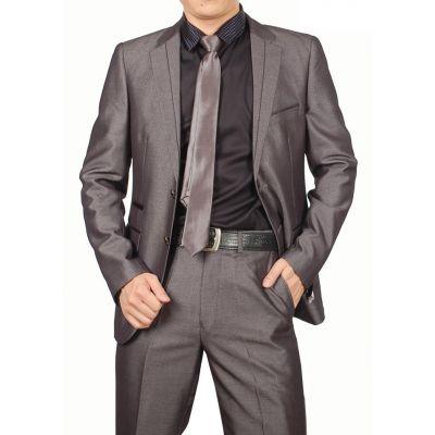 Ensemble costume pour soirée brillant veste et pantalon – gris