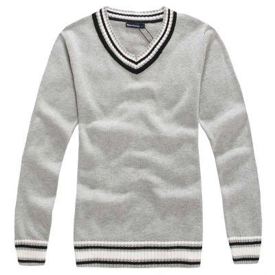 Pull en laine avec col en V uni avec rayures en bout de manches - gris