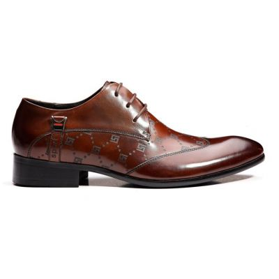 Chaussures pour costume en cuir avec pointillés fantaisie - marrons