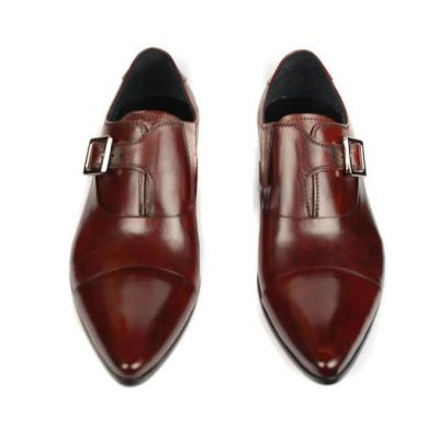 Chaussures pour costume en cuir sans lacets boucle argent - marrons