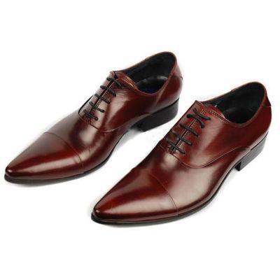 Chaussures pour costume en cuir fines avec lacets - marrons
