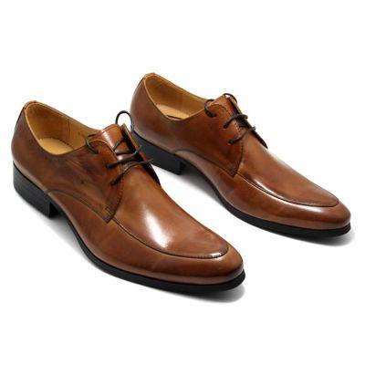 Chaussures pour costume en cuir classiques pointe arrondie - marrons