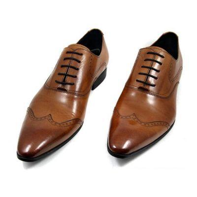 Chaussures pour costume en cuir avec couture fantaisie - marrons