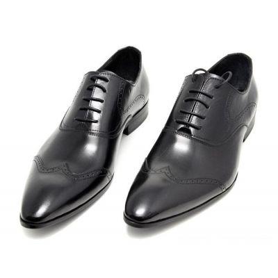 Chaussures pour costume en cuir avec couture fantaisie - noires