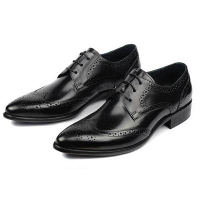 Chaussures de costume en cuir details pointillés fantaisie - noires
