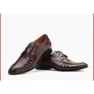 Chaussures de costume en cuir avec coutures originales - marrons
