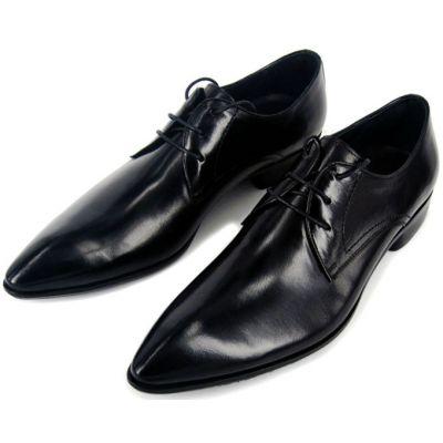 Chaussures de costume en cuir pointe classiques avec lacets - noires