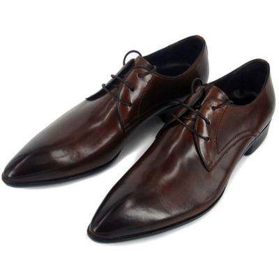 Chaussures de costume en cuir pointe classiques avec lacets - marrons