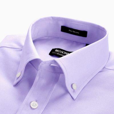 Chemise pour homme couleur unie mauve - manches longues