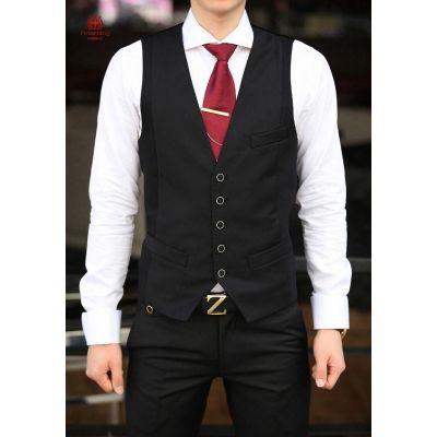 Gilet barman de costume pour homme sans manches avec attache au dos
