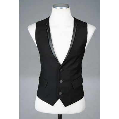 Gilet de costume noir sans manche pour homme avec attache au dos