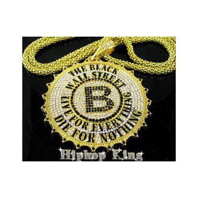 Collier chaine avec Black Wall Street bling bling – or