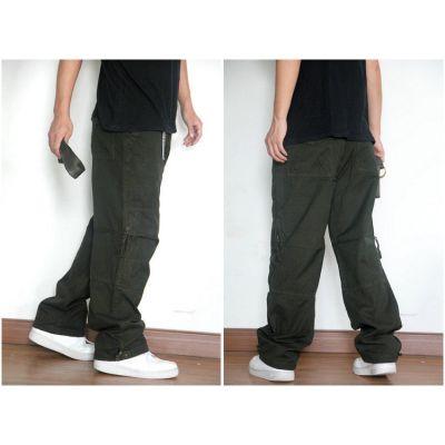 Pantalon large baggy style cargo en toile avec multiples poches