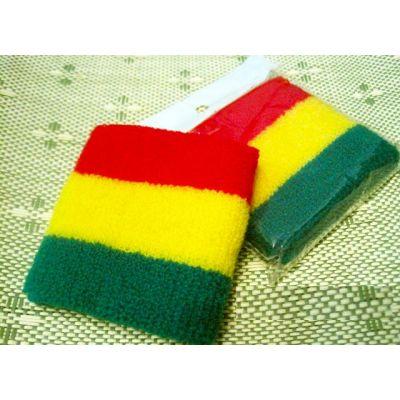 Bandeau bracelet eponge pour poignet vert jaune rouge reggae