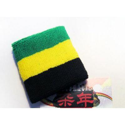 Bandeau bracelet eponge pour poignet vert jaune noir Jamaica