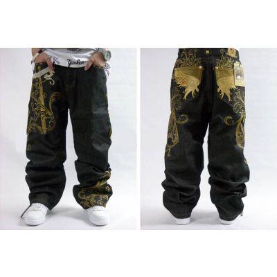 Jeans baggy large avec motif or brodé sur arrières