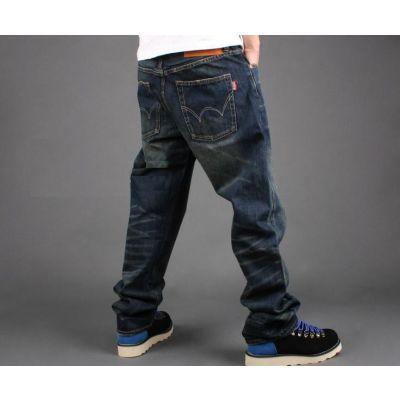 Jeans baggy classique avec effet délavé sur poches et molets