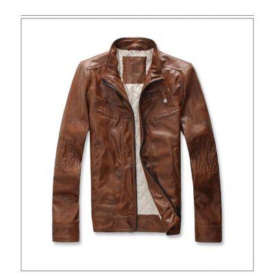 Veste classique en cuir artificiel avec col relevé