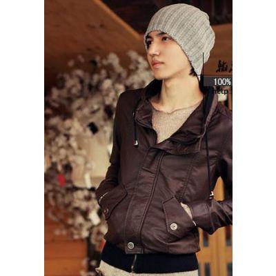 Bonnet large en laine style beanie avec rayures verticales