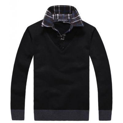 Sweatshirt uni avec col en V et col de chemise a carreaux