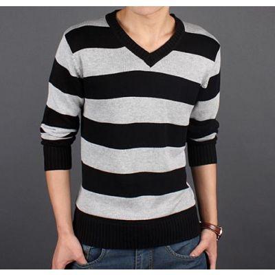 Sweatshirt col en V avec rayures larges - laine fine