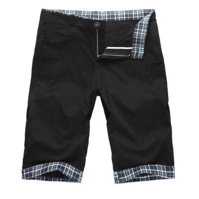 Short pour homme uni avec ourlet à carreaux bleus et blancs - noir