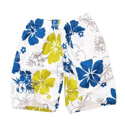 Short de bain pour homme à fleurs bleu blanc