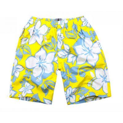 Short de bain mode à fleur hawaiennes - bleu jaune