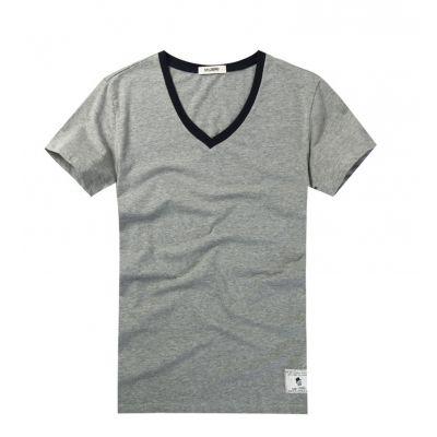 Tee Shirt col V pour homme gris avec col noir - cotton