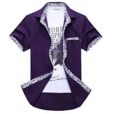 Chemise manches courtes unie avec bordure fantaisie violet blanc noir
