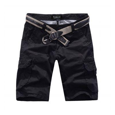 Bermuda solide avec poches genoux en toile lourde - noir