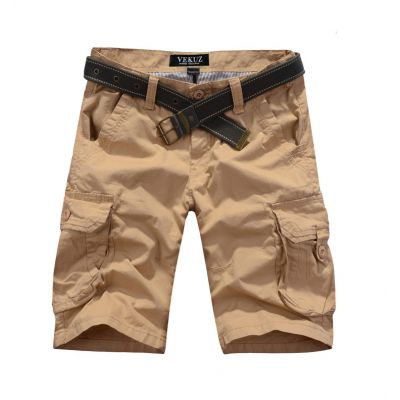 Bermuda solide avec poches genoux en toile lourde - beige