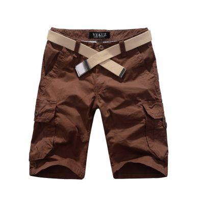 Bermuda solide avec poches genoux en toile lourde - marron
