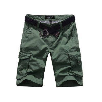 Bermuda solide avec poches genoux en toile lourde - vert kaki