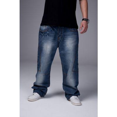 Jeans streetwear fashion avec effet délavé et coutures larges