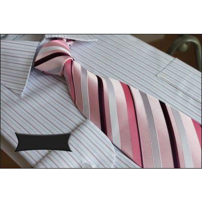 Cravate pure soie à rayures diagonales – bleue violet ou rose