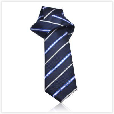 Cravate bleu marine avec rayures mélangées bleu gris