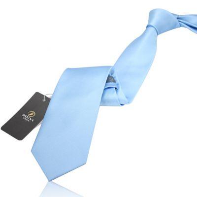 Cravate couleur unie bleu ciel - polyester