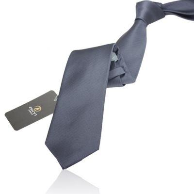 Cravate couleur unie gris métal - polyester