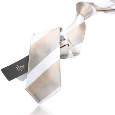 Cravate avec larges rayures blanches et beiges