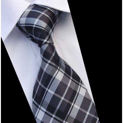 Cravate en soie avec motif à carreaux écossais noir et blanc