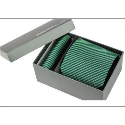 Cravate pure soie avec micro rayures vertes et bleues