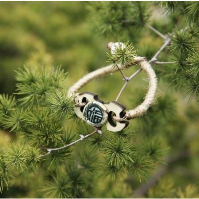 Bracelet fantaisie artisanale avec pièce bois effet nature