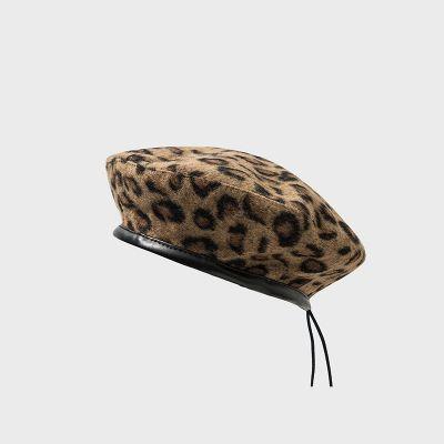 Béret pour femme imprimé léopard