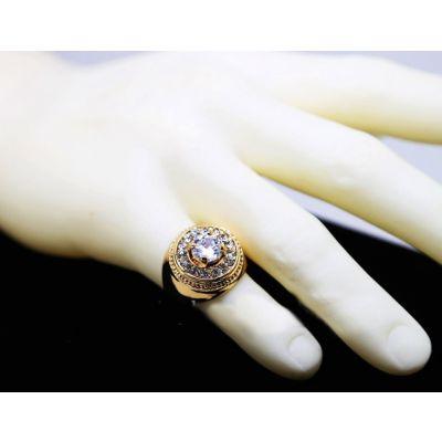 Bague Diamant Ronde pour Homme Chevalière Bling Bling
