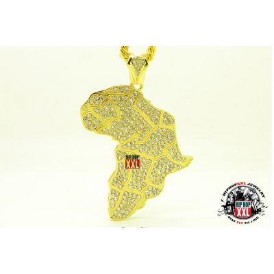 Collier Bling Bling Continent Africain Africa Hip Hop Streetwear - Or Argent