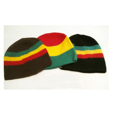 Beanie Hiver Reggae avec Rayures Noir Vert Jaune Rouge Rasta