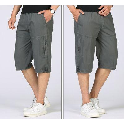 Bermuda slim en toile pour homme avec poche zippée côté et ouverture élastique